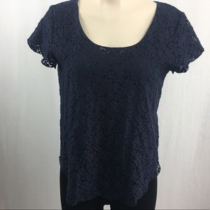 Talula Aritzia Betsy Floral Pattern Navy Lace Top